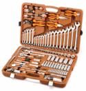 """OMT141S Универсальный набор инструмента торцевые головки 1/4"""", 3/8"""", 1/2""""DR 4-32 мм, Е4-Е18, аксессуары к ним, комбинированные ключи 8-24 мм, 141 предмет"""